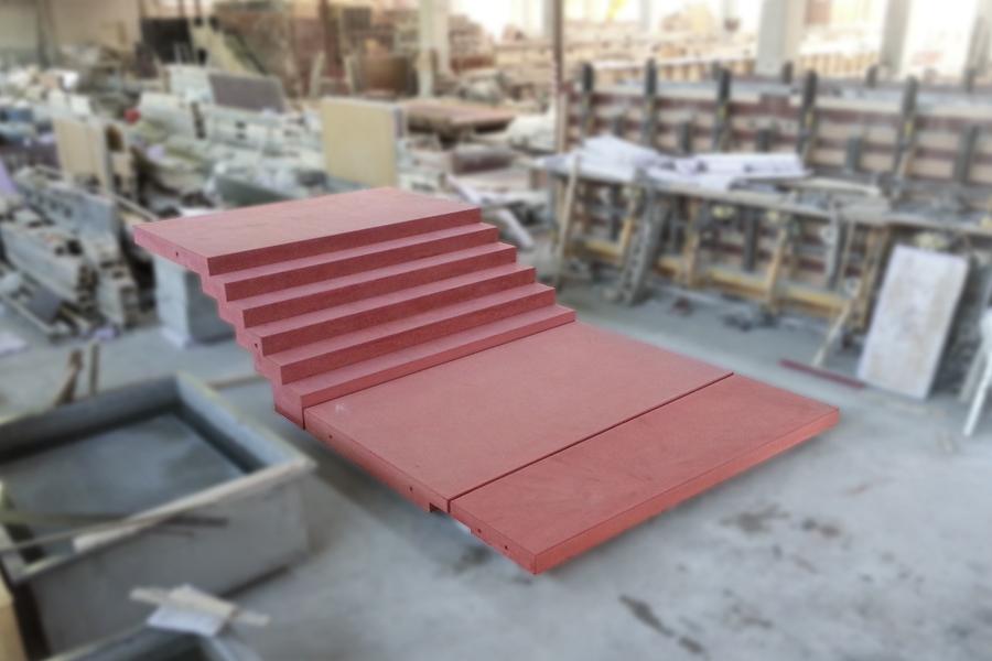 Treppenanlage gezahnt in rot