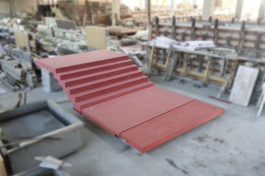 Zahntreppe koloriert mit angeformten Podest- und Zugangsplatten